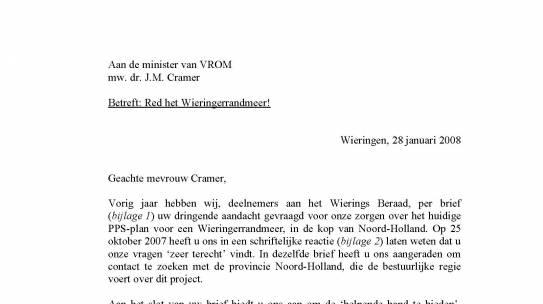 Wierings Beraad doet opnieuw beroep op minister Cramer