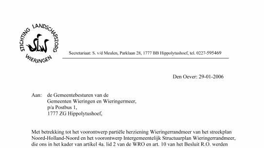 Reactie Landschapszorg op Streekplan + Structuurplan