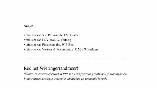 Oproep aan 4 ministers: 'Red het Wieringerrandmeer'